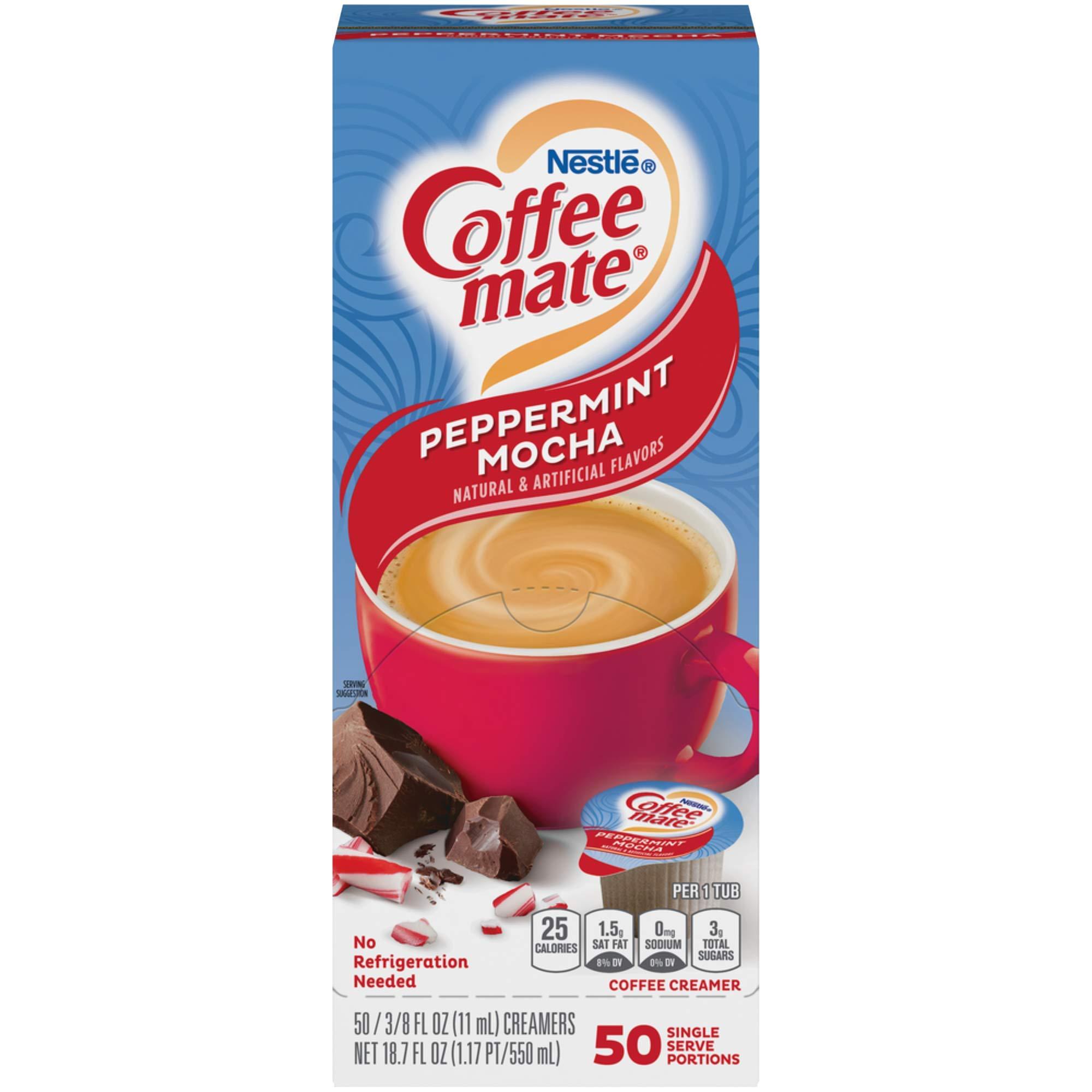 Coffee mate Peppermint Mocha Creamer, Liquid Singles, 50/Box