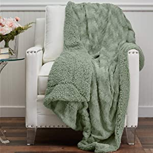 The Connecticut Home Company Soft Faux Fur with Sherpa Bed Throw Blanket, Many Colors, Fluffy Large Luxury Reversible Blankets, Fuzzy Washable Throws for Couch, Beds, Home Bedroom Decor, 65x50, Sage