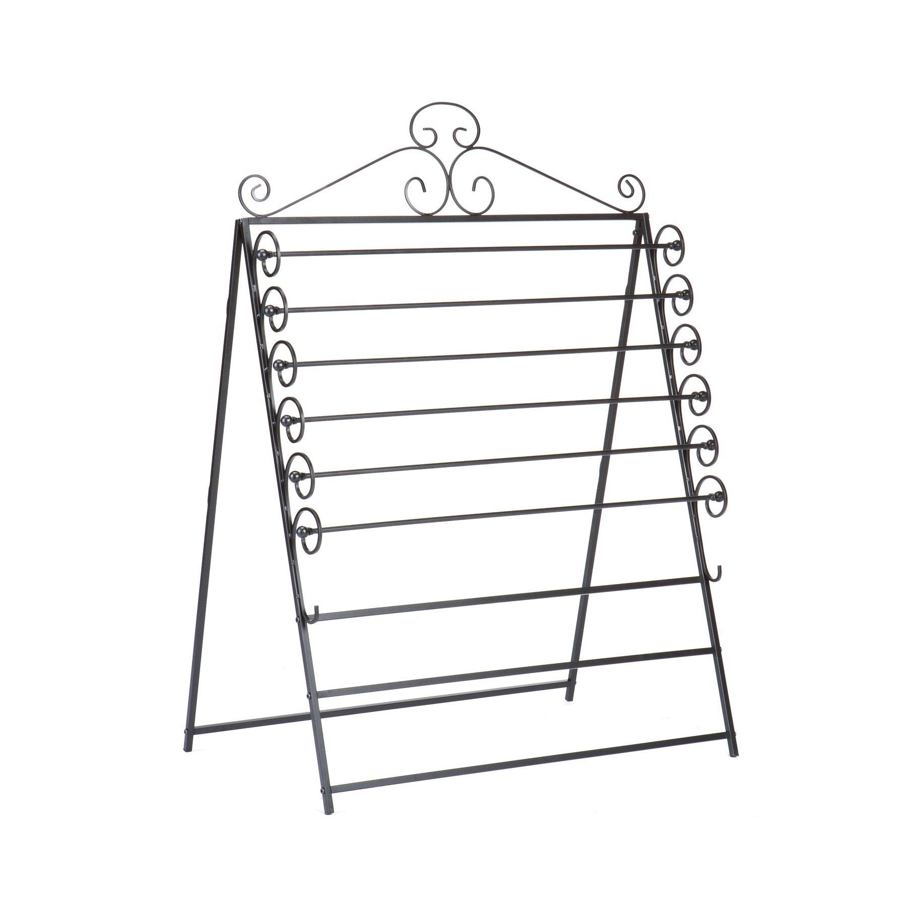 Southern Enterprises Easel/Wall Mount Craft Storage Rack - Black Metal Frame - 6 Movable Racks by Southern Enterprises