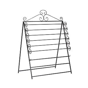 Southern Enterprises Easel/Wall Mount Craft Storage Rack - Black Metal Frame - 6 Movable Racks