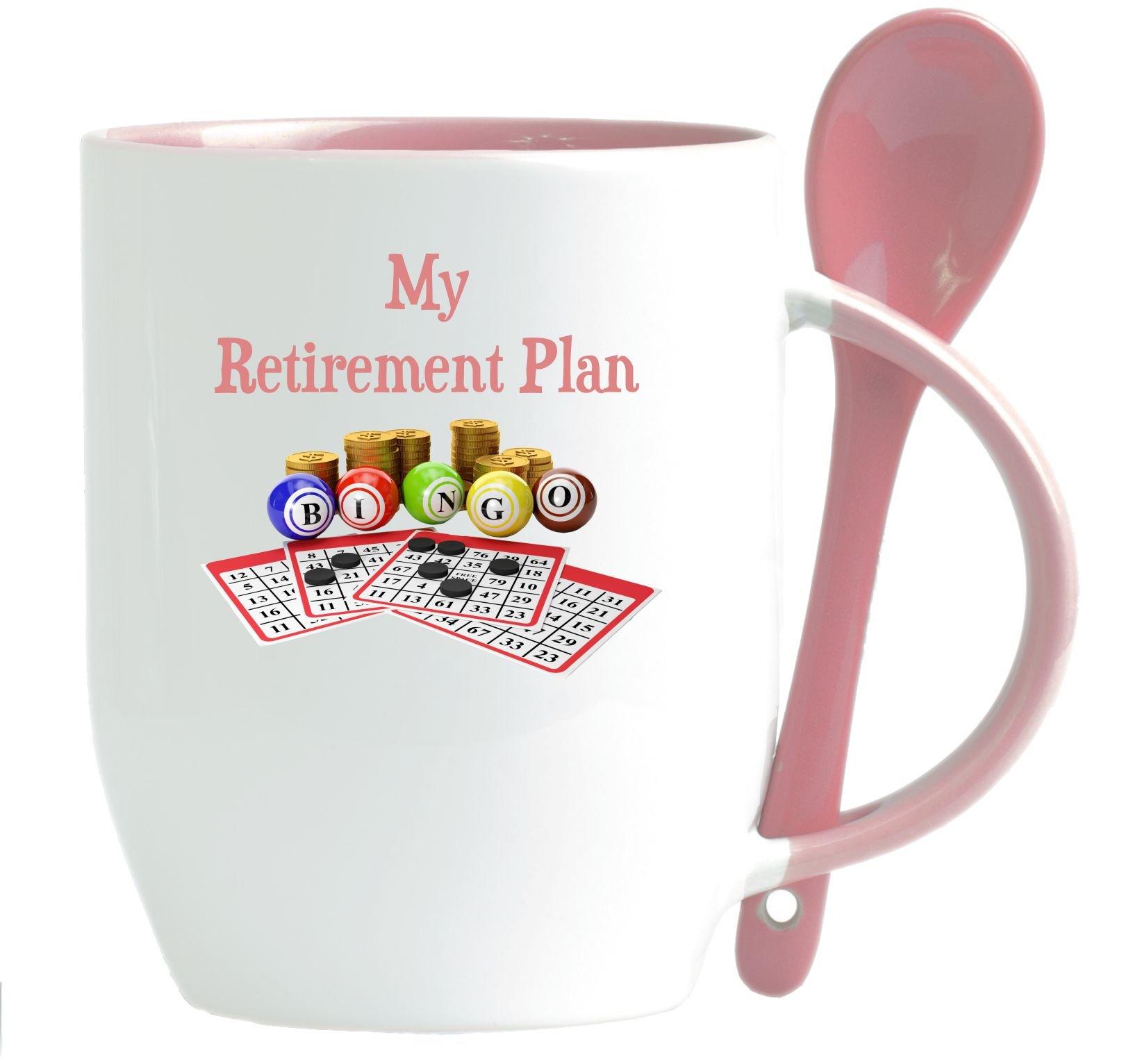 Rikki Knight My Retirement Plan is Bingo - Funny Quotes Design 12oz Ceramic Mug with matching Ceramic Spoon