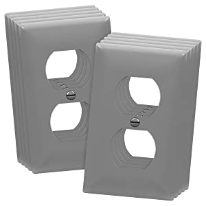 ENERLITES Duplex Wall Plates Kit, Home Electrical Outlet Cover, 1-Gang Standard Size, Unbreakable Polycarbonate Material, 8821-GY-10PCS, Gray, 10 Pack, Grey, 10 Count