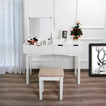 0369132025efd ... Dressing Writing Desk 2 Drawers. Aodailihb Vanity Table With Flip Top  Mirror Set Makeup