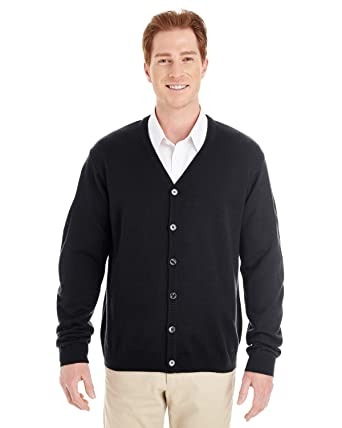 ef19c99d14 Harriton Mens Pilbloc V-Neck Button Cardigan Sweater (M425) -BLACK -6XL