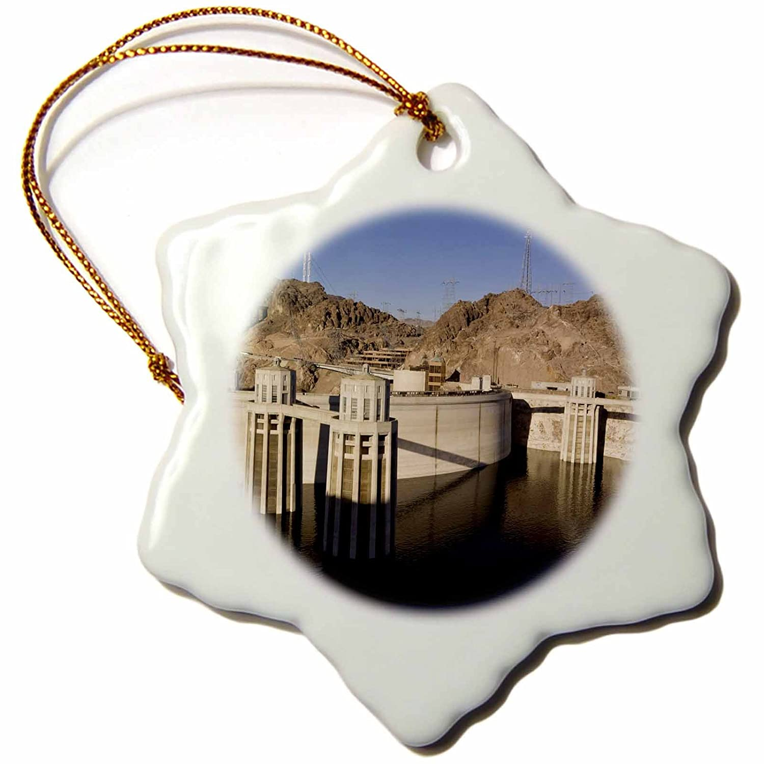 3dRose orn_92240_1 Low Water levels at The Hoover Dam, Lake Mead, NV US29 MPR0048 Maresa Pryor Snowflake Porcelain Ornament, 3-Inch