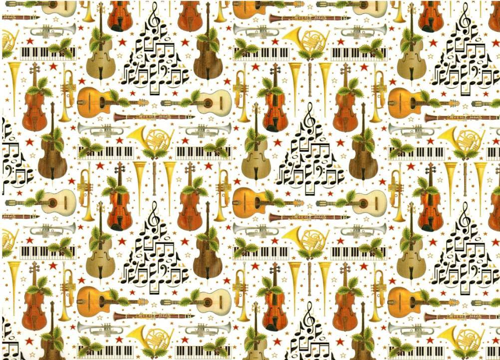 Musical instruments and holiday trees gift wrap paper