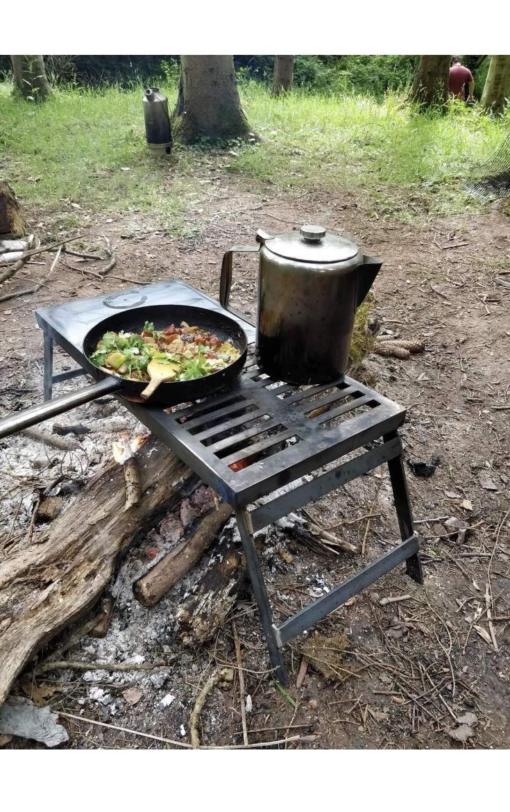 """Camping Grill BBQ Foldable Heavy Duty Over Fire Camping BBQ Grill Foldable Portable 24"""" L x 12"""" W x 11"""" H Barbecue Grill - Simply place over your coal or embers Just place this portable grill over your embers and you can be cooking straight away. FGK GRIL"""