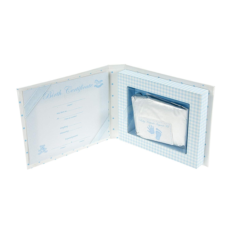 Mousehouse Gifts Baby Geschenk Junge Gips /& Abdrucksets Blaue Erinnerungsbox mit Fotofenster f/ür Baby Jungen
