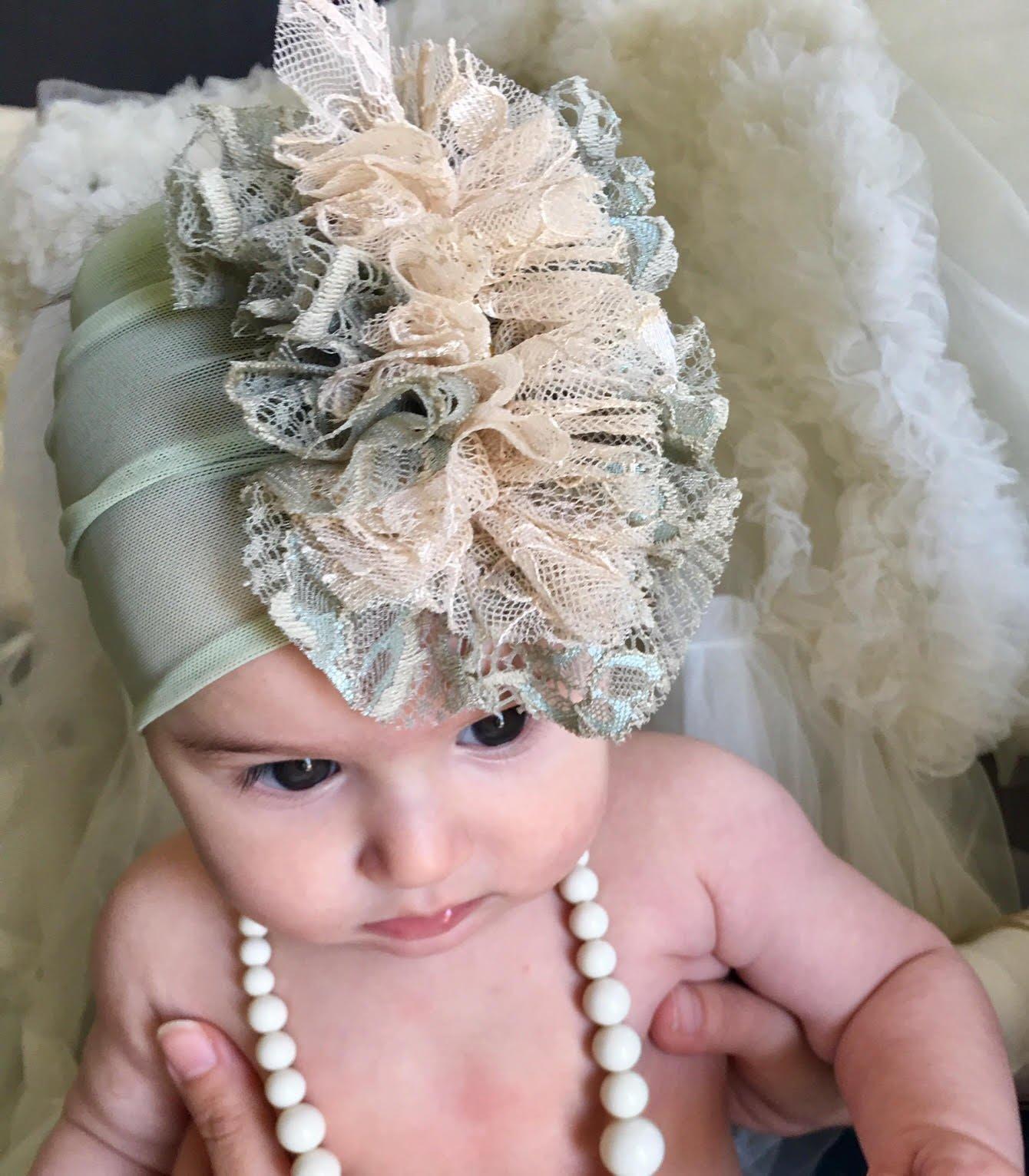 Handmade Green Baby Headband Made By Yasmine. 1-3 Years old, with Fabric Flower and Rhinestone