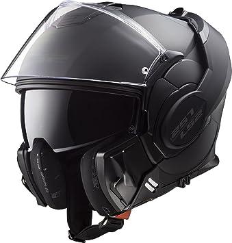 LS2 FF399 Cascos modulares de Moto Motocicleta Bicicleta Valiente Convertir Noir Negro Mate S(55