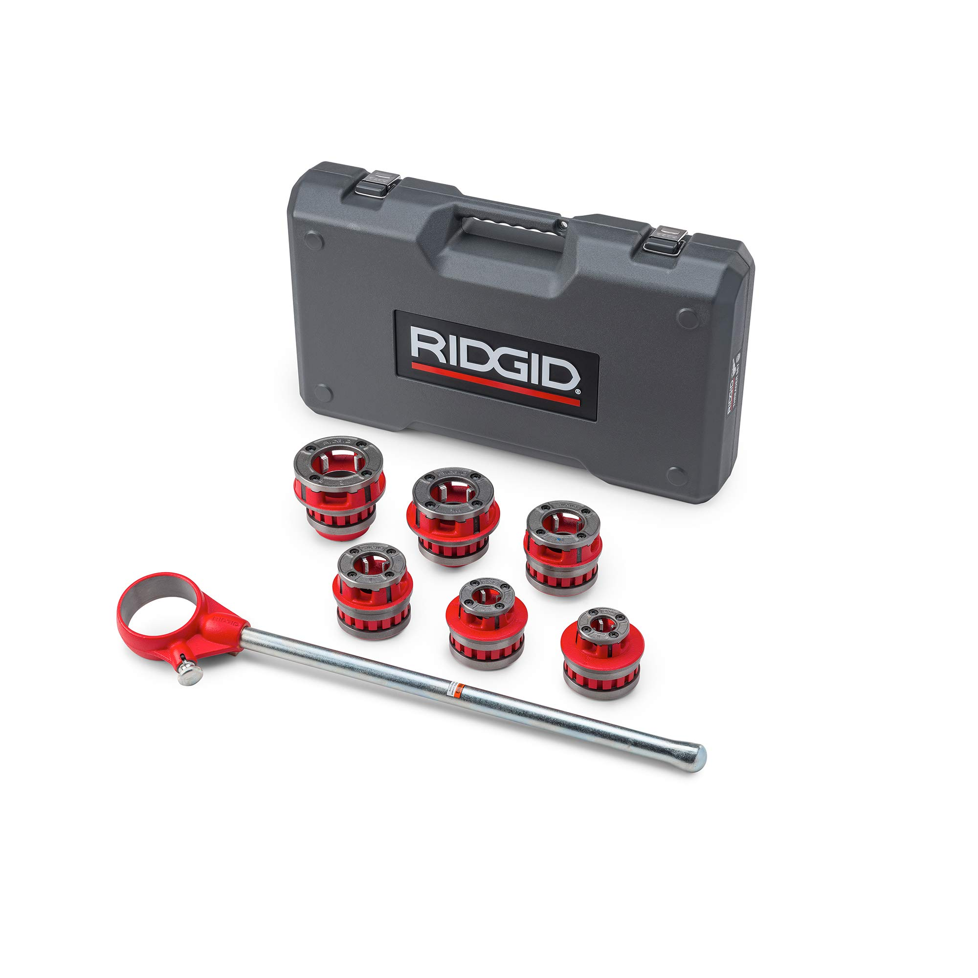 RIDGID 36475 Exposed Ratchet Threader Set, Model 12-R Ratcheting Pipe Threading Set of 1/2-Inch to 2-Inch NPT Pipe Threading Dies and Manual Ratcheting Pipe Threader with Carrying Case by Ridgid (Image #3)