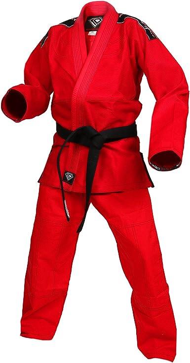 KOmpetition Series BJJ Jiu Jitsu Kimono and Pants KO Sports Gear Red Kids Gi Uniform Set 100/% Cotton Pearl Weave Gi