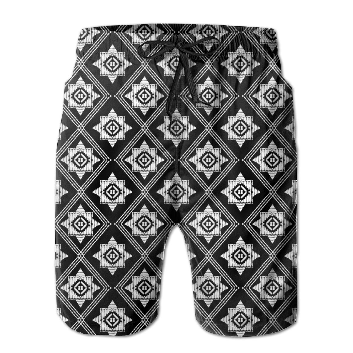 Polyester Aztec Pattern Board Shorts with Pockets Mens Casual Swim Trunks