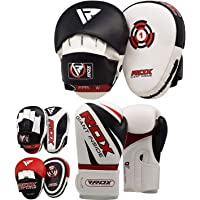 RDX Boxing Pads and Gloves Set | Hook and Jab Target Focus Mitts with Punching Gloves | Hand Pads for Muay Thai, Kickboxing, MMA, Martial Arts, Karate Training | Coaching Padded Strike Shield