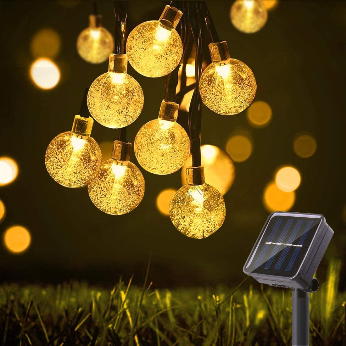 29.5Ft 50 LED Bulbs Diameter 1.7cm Solar String Lights Waterproof Globe Bulbs 8 Modes Decorative Lighting Fairy Lights for Christmas Decoration, Garden, Porch, Patio, Gazebo, Bistro, Xmas Lights