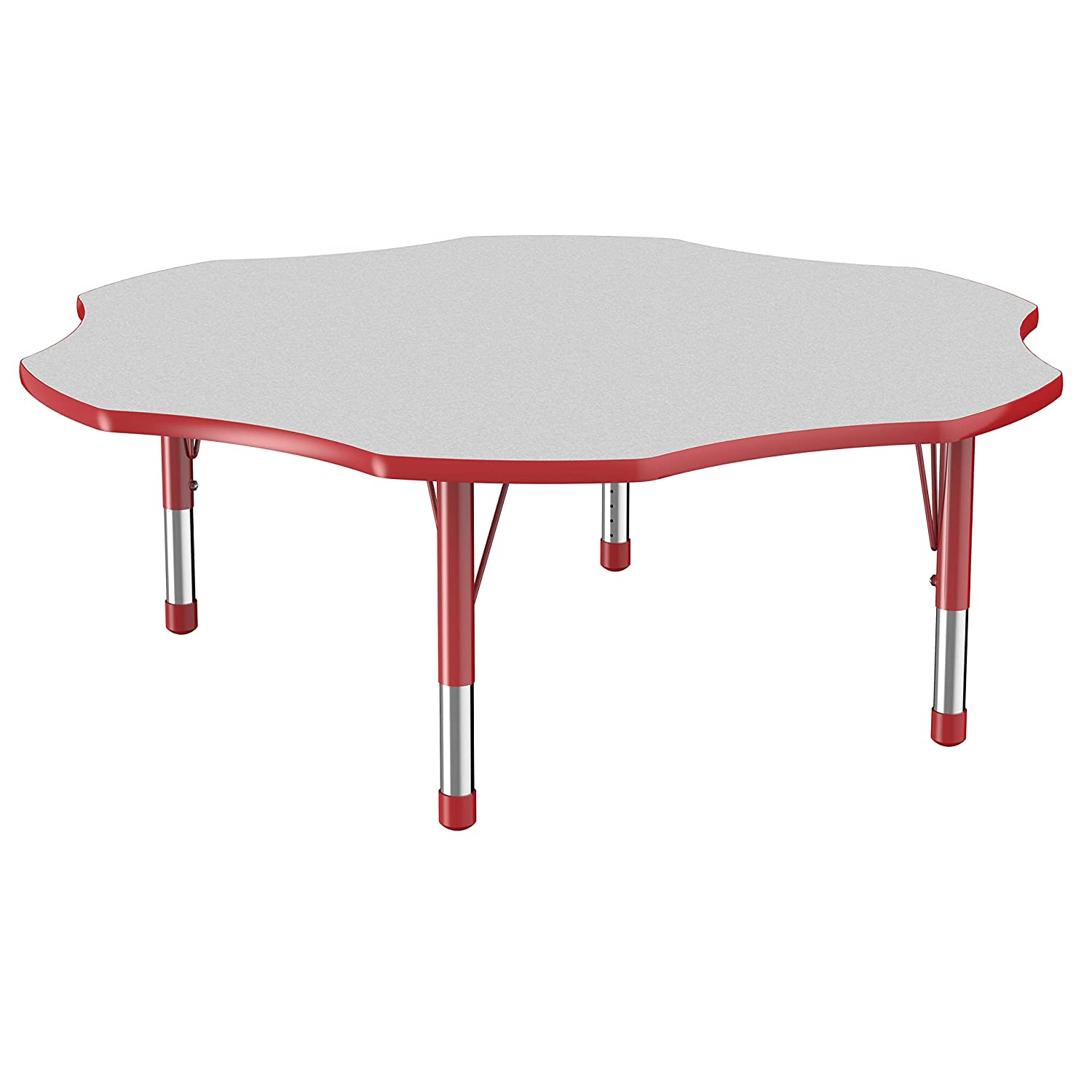 FDP Flower Activity School and Classroom Kids Table (60 inch), Toddler Legs for Collaborative Seating Environments, Adjustable Height 15-24 inches - Gray Top and Red Edge