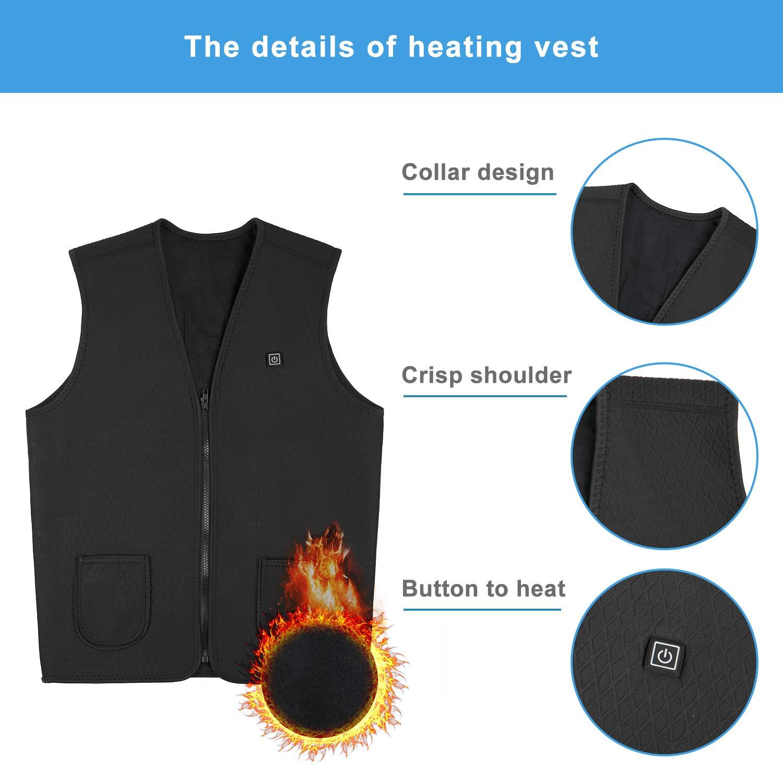 AiBast Beheizte Weste Draussen Heizweste,Mit verbesserten und samtwarmen Materialien USB-Lademodus einzigartiger Nackenheizung ohne Akku waschbar schneller Erw/ärmung