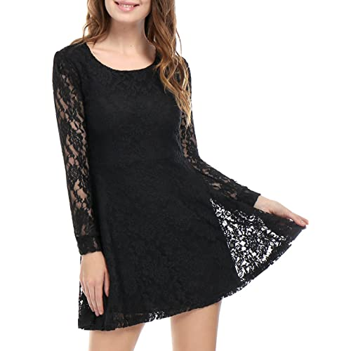 Allegra K Womens Scoop Neck Sheer Floral Lace Mini Skater Cocktail Party Dress