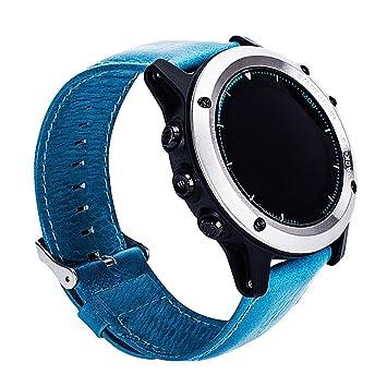 Correa de reloj Happytop, de 27 mm, de piel para Garmin Fenix 3/HR, hombre, azul, Small: Amazon.es: Deportes y aire libre