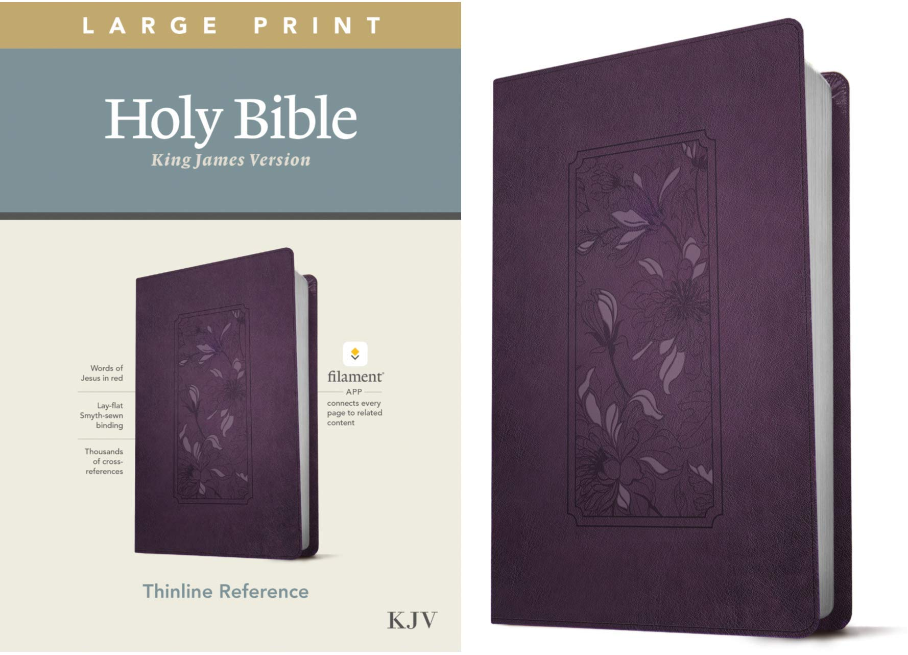 Kjv Large Print Thinline Reference Holy Bible Red Letter Leatherlike Floral Frame Purple Includes Free Access To The Filament Bible App Notes Devotionals Worship Music And Video Tyndale 9781496447180 Amazon Com Books