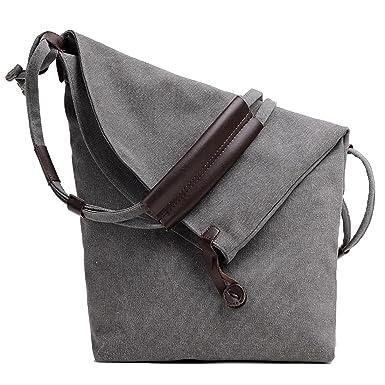 f3f6932bf9ce UNYU Womens Fashion Canvas Leather Shoulder Bag Messenger Crossbody ...