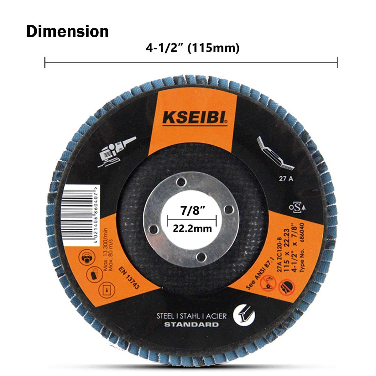 KSEIBI Zirconia Corundum 4 1/2 Inch Flap Disc Sanding Grinding Wheel (Grit #40, Blue) by KSEIBI (Image #4)