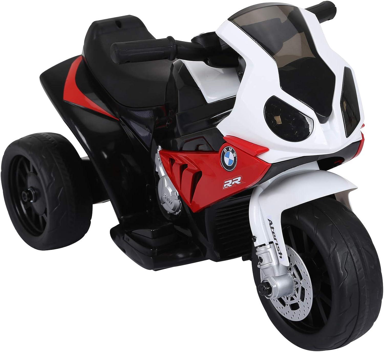 HOMCOM Compatible para Electric Motobicicleta para Niños 18-36 Meses con Faros Música Batería de 6V Rojo BMW S1000RR