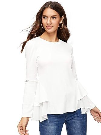 d51e57885b Amazon.com: SheIn Women's Round Neck Long Sleeve Contrast Chiffon Ruffle  Hem Peplum Blouse: Clothing