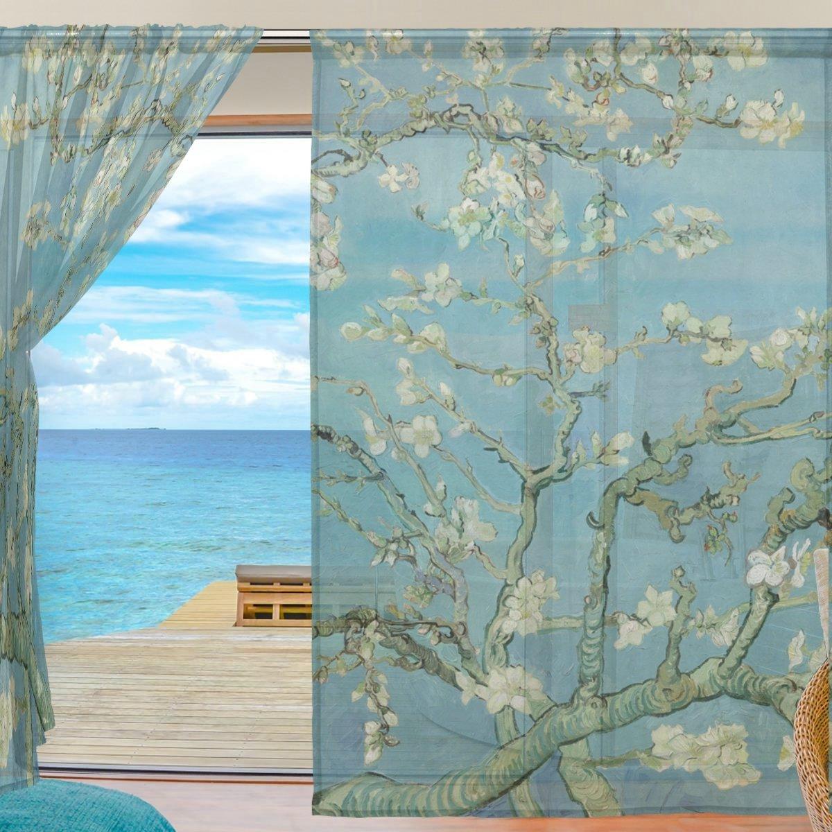 Sal/ón in Cortina de Gasa para Decoraci/ón de Ventanas Mnsruu ISAOA Van Gogh Dormitorio o Sala de Estar Varios Colores poli/éster 55x78x2