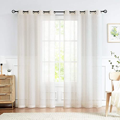 Fmfunctex Flax Linen Sheer Curtain