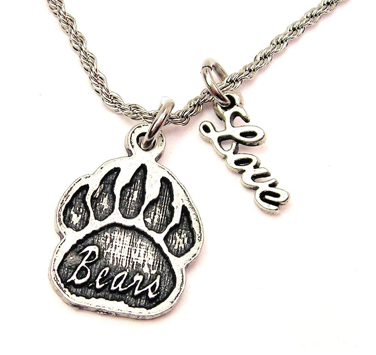 ChubbyChicoCharms Bears Paw Print Stainless Steel Rope Chain Necklace with Cursive Love Accent