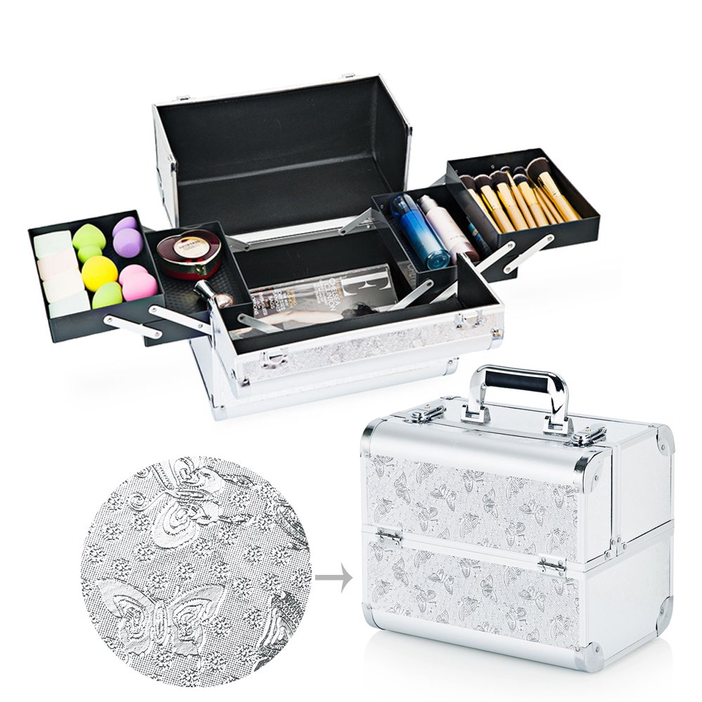 Hotrose Extra Large Space Storage Beauty Box Make up Nail Jewelry Cosmetic Vanity Case (Butterfly Pattern, Purple)