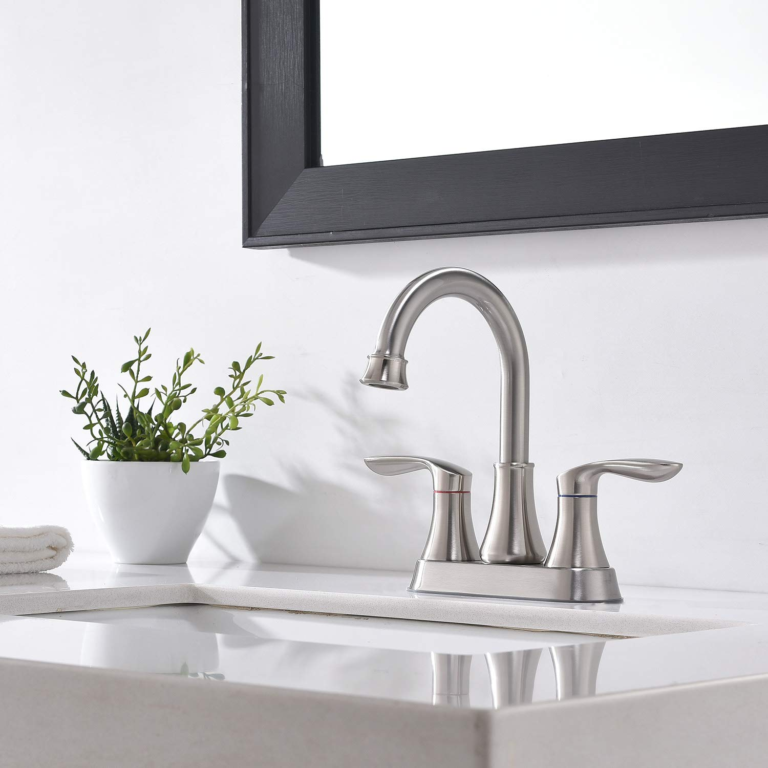 Friho Lead-Free Modern Commercial Two Handle Oil Rubbed Bronze Bathroom Faucet,Bathroom Vanity Sink Faucets with Drain Stopper and Water Hoses