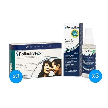 Caída del cabello - 3 Foliactive Pills + 3 Foliactive Spray: Pastillas y Spray para
