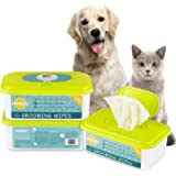 PUPMATE Pet Wipes for Dogs & Cats, Extra Moist & Thick Grooming Puppy Wipes with 100 Deodorizing and Hypoallergenic Fresh Counts, Natural
