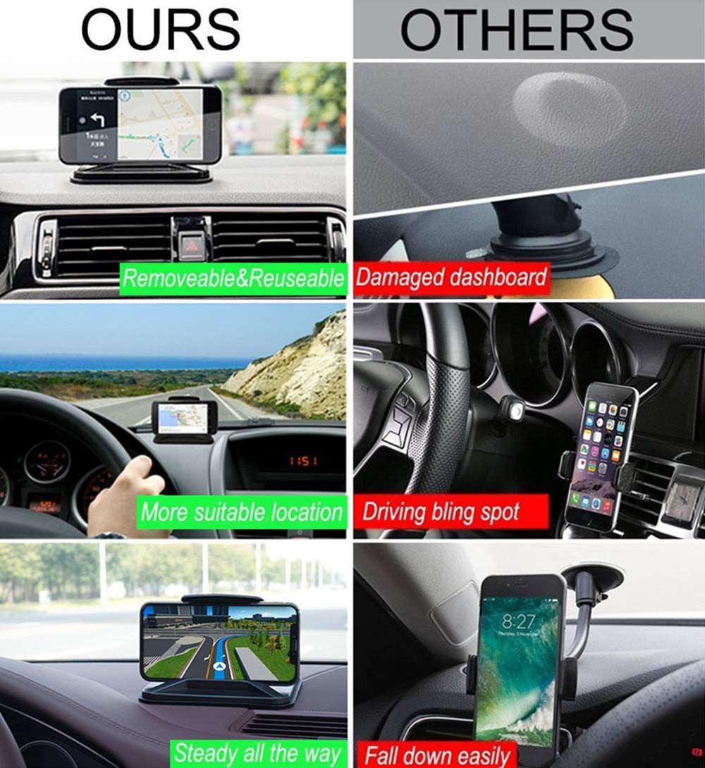for Samsung Galaxy Note 8 9 S8 S9 Plus S7 Edge Smartphones Witzon Dashboard car holder 2018 Cell Phone Car Holder Dashboard Car Phone Mount Vehicle GPS Mounts Universal Car Pad Mat Cradles Clamp for iPhone X XR XS MAX 8 7 6 6S Plus
