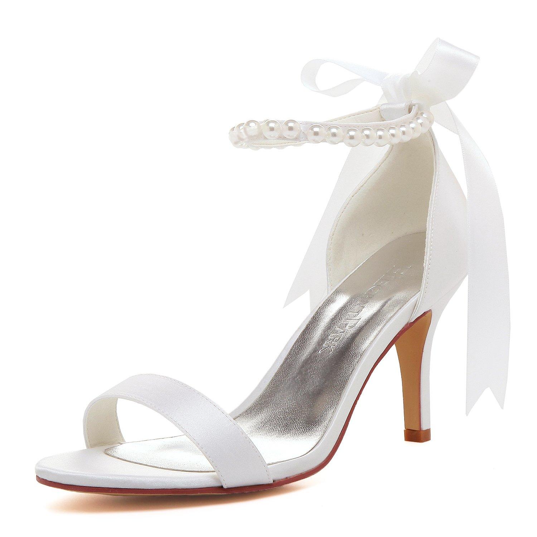 ElegantPark EP11053N Women Ankle Strap Shoes Open Toe Pearls Satin Bridal Wedding Sandals White US 10