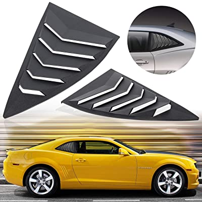 E-cowlboy Side Window Louvers Windshield Sun Shade Cover for Chevy Camaro 2010~2015 in GT Lambo Style Custom Fit ABS Matte Black (2PCS): Automotive