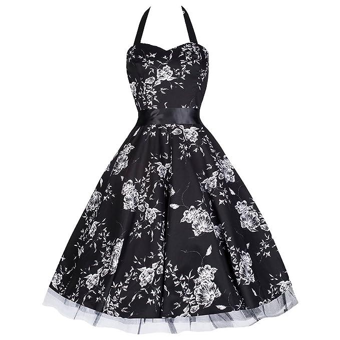 Pretty Kitty Fashion - Sexy negro blanco floral vestido fiesta baile 10