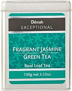 Dilmah Exceptional Fragrant Jasmine Green Tea Loose Leaf Caddy, 100 Grams