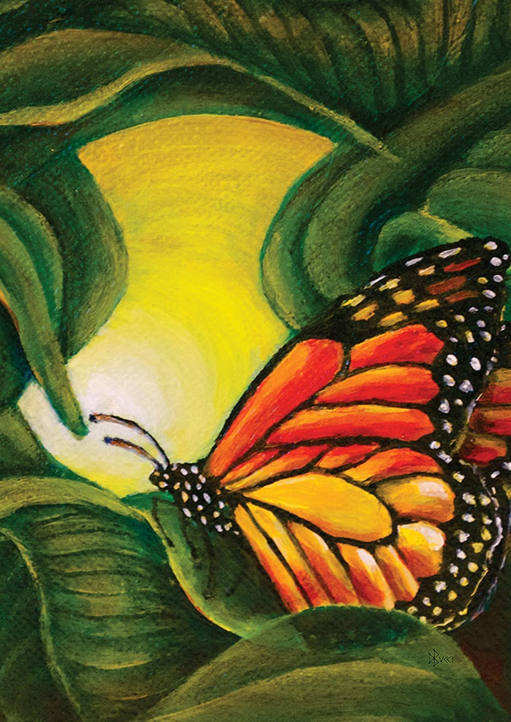 Toland Home Garden Painted Monarch On Green 12.5 x 18 Inch Decorative Spring Leaf Plant Butterfly Garden Flag