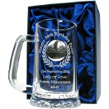 Mens 50th Birthday Gift, Engraved 50th Birthday Pint Glass Tankard with Solid Pewter 'Brother' Feature, In a Satin Lined Presentation Box, Men's Birthday Gifts