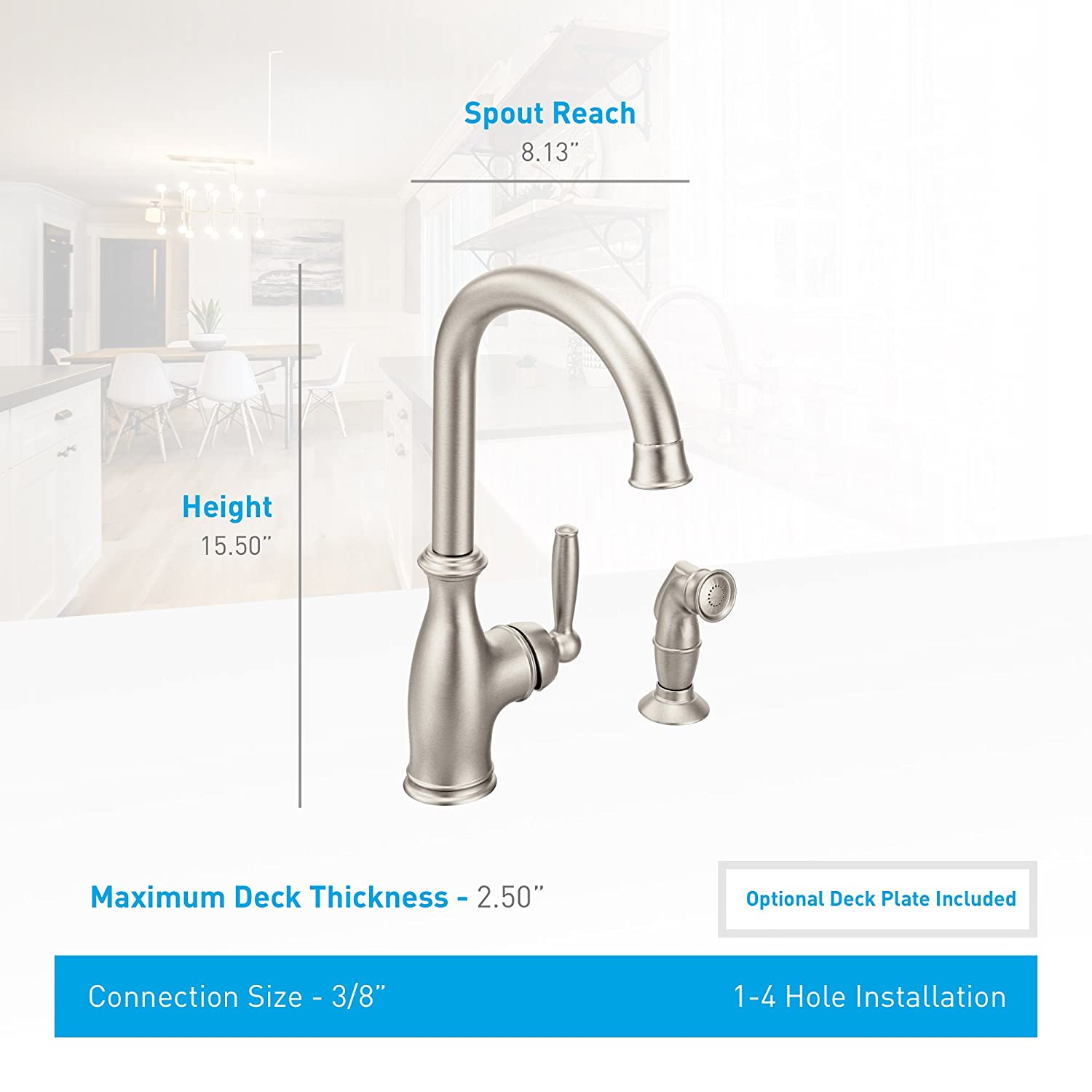 Moen Belfield One-Handle High Arc Kitchen Faucet with Side Spray ...