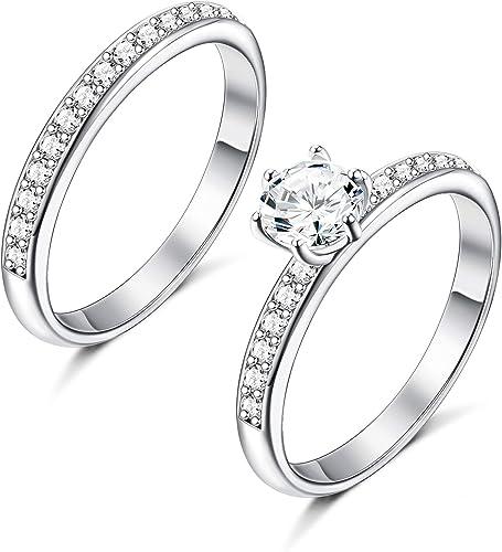 Femmes en acier inoxydable Solitaire Rond CZ Engagement Mariage or plaqué or anneau Set