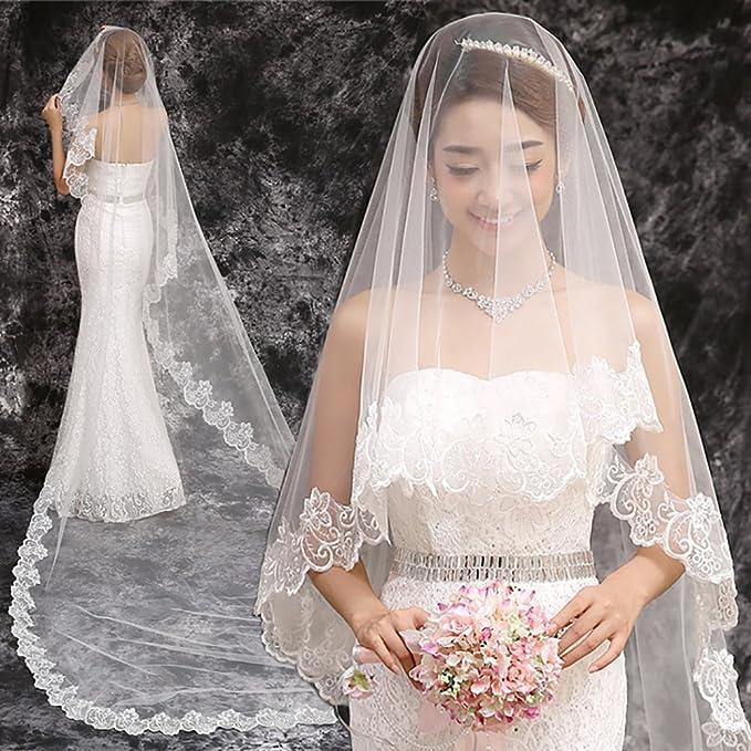 YXN Velo de Novia Blanco 1.5 * 2.7 m de Largo Trailing Lace Largo Vestido de Novia Boda Velo de Novia Elegante Recorte Velo de Novia: Amazon.es: Hogar