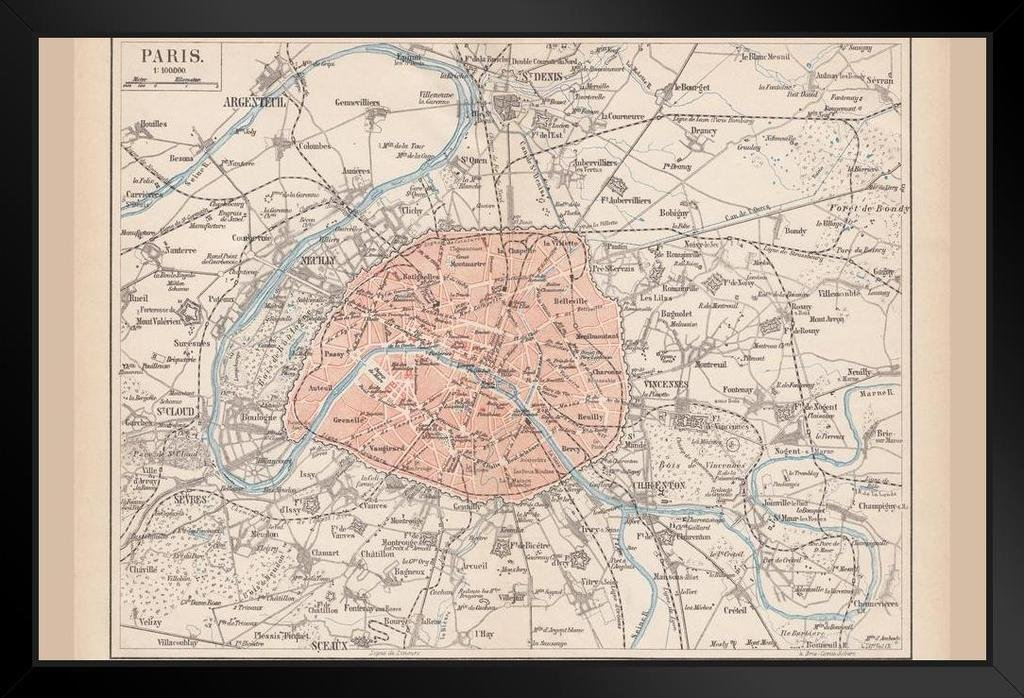 City of Paris Vintage 1877 Antique Style Map Mural Giant Poster 54x36 inch Poster Foundry 229669