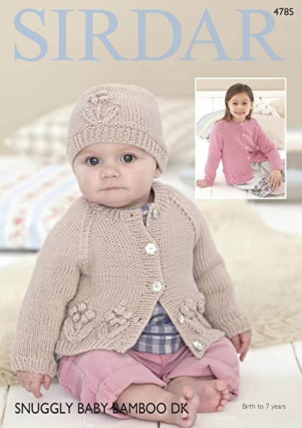 782b0e27fda2 Sirdar 4785 Knitting Pattern Baby Chiildrens Cardigan and Hat in ...