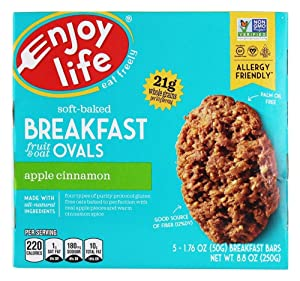 Enjoy Life Foods - Soft-Baked Breakfast Fruit & Oat Ovals Apple Cinnamon - 5 Bars, 8.8oz