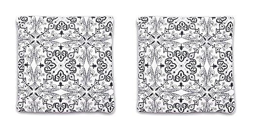 Homevibes Cojín para Silla, Juego de 2 Cojines de 40 x 40 x 9 cm de 100% Algodon para Interior y Exterior, Cojin Cuadrado para Suelo