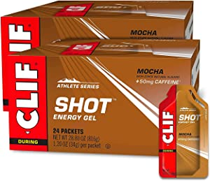 CLIF SHOT - Energy Gels - Mocha- Non-GMO - Non-Caffienated - Fast Carbs for Energy - High Performance & Endurance - Fast Fuel for Cycling and Running (1.2 Ounce Packet, 48 Count)